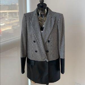 Rachel Zoe Huxley Houndstooth Leather Blazer XS/S